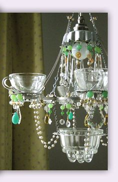 gorgeous chandeliers made from old household items like punch cups. Madeleine Boulesteix, artist. #chandeliers #DIY #recycled