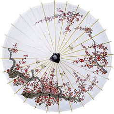 Cherry Blossom and Birds 33 Inch Paper Parasol