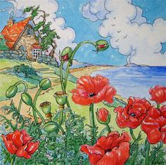 """Poppies by the Seashore Storybook Cottage Series"" - Original Fine Art for Sale - � Alida Akers"
