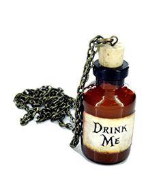 Alice au pays des merveilles moi boire bouteille collier neuf en boîte-cadeau