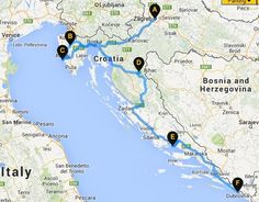 An overview of the self-drive itinerary of Croatia. (Route not necessarily exact.)