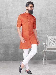 Shop Plain orange silk kurta suit online from India. Mens Indian Wear, Mens Ethnic Wear, Indian Groom Wear, Indian Men Fashion, Mens Fashion, Trendy Fashion, Kurta Pajama Men, Kurta Men, Kurtha Designs