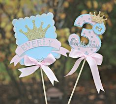 Girl / Little Princess Centerpiece.  Set of 2 sticks.  Physical Product.  Pink / blue / silver / gold party decoration.  Tiara / crown. by CharmingTouchParties on Etsy