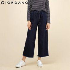 Джордано женщина Джинсы для женщин в стиле ретро Дизайн Брюки для девочек ботильоны Длина широкие Джинсы для женщин пояс на завязках Мотобрюки брендовая одежда Pantalon Femme