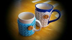 Coffee cup crochet cozies www.facebook.com/chrisserscreations