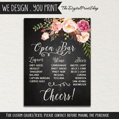 Open bar sign printable wedding sign tomorrows stories will be wedding bar sign available at boardman printing solutioingenieria Gallery