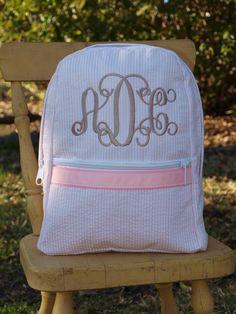 Baby Pink Seersucker Backpack on Etsy, $24.99