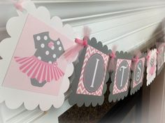 Tutu Onesie Baby Shower Banner - Light Pink Chevron and Polka Dots & Gray and White Accents - Party Packs Available