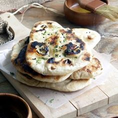 Naan (Authentic Indian flat breads) -soft pillowy cushions with rippled surface, made perfectly at home.