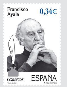 Sello de España en honor al escritor, Francisco Ayala (Granada, 1906-Madrid, 2009) .