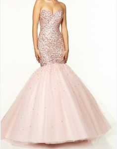 Champagne Sequined Mermaid Prom Dress