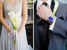 Bride in gray illusion bodice wedding dress and groom with bright blue dress watch. See more of this 50 Shades of Grey inspiration session here: http://www.mywedding.com/articles/modern-charcoal-gray-and-silver-inspiration-session-by-andie-freeman-photography/