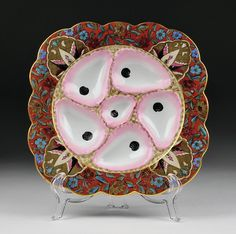 Fischer & Mieg Beehive Marked Oyster Plate, (1853-73)