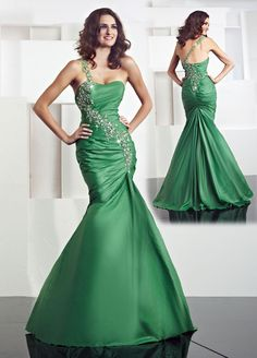 One-shoulder Strapless Green Long Prom Dress - http://www.vudress.com/