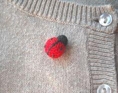 Ladybug Crochet Pin - Tiny Amigurumi Red Ladybird Pin - Animal Brooch via Etsy.