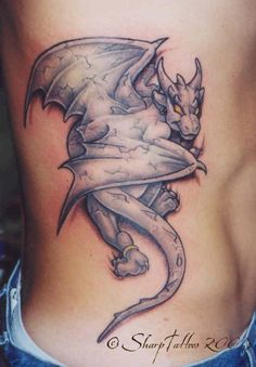 Gargoyle type of stone dragon tattoo