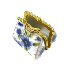 Blue Floral Porcelain Pillbox Limoges Style Purse Shaped Ring Box Trinket Box Gold Metal Trim by ThriftyTheresa