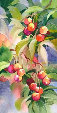"-""July Cherries"" - Bridget Austin -""July Cherries"" - Bridget Austin -See it Watercolor Fruit, Fruit Painting, Watercolor Artists, Watercolor Landscape, Watercolor Flowers, Watercolor Paintings, Watercolors, Watercolor Portraits, Abstract Paintings"
