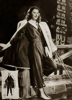 """Barbara Stanwyck modelling the latest Hollywood fashion, from """"Photoplay-Movie Mirror"""", March 1942 Hollywood Fashion, 1940s Fashion, Classic Hollywood, Old Hollywood, Fashion Glamour, Hollywood Style, Hollywood Glamour, Vintage Winter Fashion, Fritz Lang"""