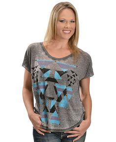 Rock & Roll Cowgirl Studded Aztec Print Burnout Short Sleeve Top