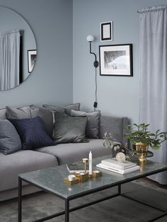 Cosy Scandinavian living room, with interior decor in shades of grey and blue. Living Room Paint, Living Room Colors, Living Room Interior, Living Room Designs, Living Rooms, Living Room Decor Grey And Blue, Bolia Sofa, Patio Central, Living Room Inspiration