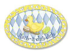 Stupell Home Décor Rub-A-Dub-Dub Rubber Ducky Oval Wall Plaque, 10 x 0.5 x 15, Proudly Made in USA ** You can find more details by visiting the image link. (This is an affiliate link) #KidsRoomDecor