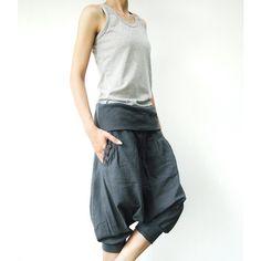 No.43 Bluish Gray Cotton Cocoon Shorts Casual Harem Pants ($42) ❤ liked on Polyvore featuring pants, black, women's clothing, drop crotch harem pants, black pants, stretch pants, cotton pants and elastic cuff pants