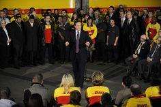 David Cameron at DHL HQ, via Flickr.