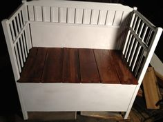 Bench made from an old discarded baby changing table.