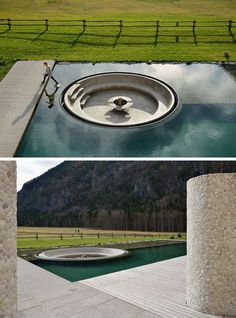 Architecture firm ENOTA have designed a wellness center in Slovenia, and as part of the design, they included a sunken firepit within the swimming pool. #SunkenFirepit #Firepit #SwimmingPool