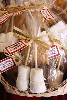 """Woodland Birthday Party. Either """"Thanks Smore"""" or """"Smore for the Road"""" Party Favors."""