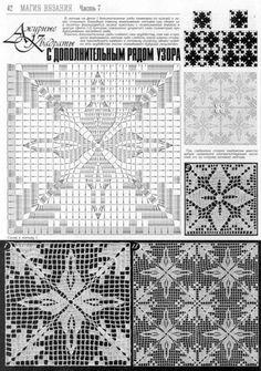 Irish lace, crochet, crochet patterns, clothing and decorations for the house, crocheted. Crochet Motif Patterns, Crochet Blocks, Crochet Diagram, Crochet Squares, Crochet Chart, Thread Crochet, Crochet Granny, Filet Crochet, Irish Crochet