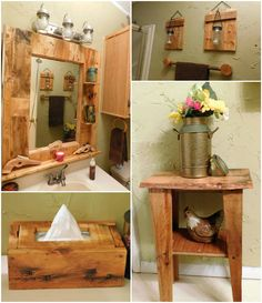 """Don't pay a fancy designer store prices for """"reclaimed"""" or """"shabby-chic"""", poor-quality products. Make your own Pallet Bathroom Makeover, and give your bathroom a gorgeous facelift for under 20 bucks! The inspiration for my Pallet Bathroom Pallet Home Decor, Diy Pallet Furniture, Diy Pallet Projects, Furniture Projects, Pallet Ideas, Wood Projects, Pallet Bathroom, Rustic Bathroom Shelves, Rustic Bathroom Decor"""