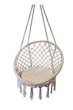 Macrame hanging chair from @Zanui. From 'Trent Watch: Rope Pieces For A Summery Feel': http://www.insideout.com.au/products/shop/trend-watch-rope-pieces-for-a-summery-feel