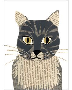 grey tabby cat original hand made paste art collage piece 5 x 7 inches gouache painted vintage book papers on 100% cotton board signed by denise fiedler