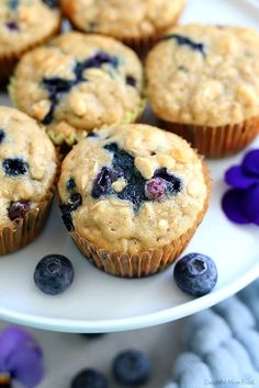 The fluffiest gluten free blueberry muffins recipe! These healthy and easy blueberry oat muffins are seriously the best gluten-free muffins! They are also dairy-free and packed with fiber, juicy blueberries, rolled oats and a hint of lemon zest. Gluten Free Blueberry Muffins, Gluten Free Oats, Gluten Free Baking, Blue Berry Muffins, Gluten Free Desserts, Healthy Baking, Muffin Recipes, Baking Recipes, Free Recipes
