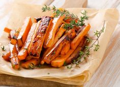 Roasted Sweet Potato Fries Entire recipe makes 4 servings Serving size is about 1/4 sweet potato Each serving = 3 Points +