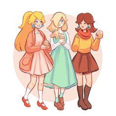 Peach daisy and rosalina Super Mario Brothers, Super Mario Bros, Super Smash Bros, Super Mario Princess, Nintendo Princess, Nintendo Characters, Video Game Characters, Princesa Daisy, Mario Fan Art
