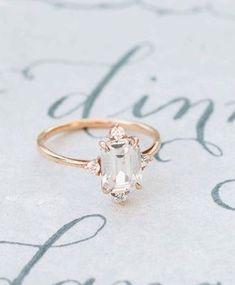 Romantic Engagement Ring, Gold Vintage Unique Ring