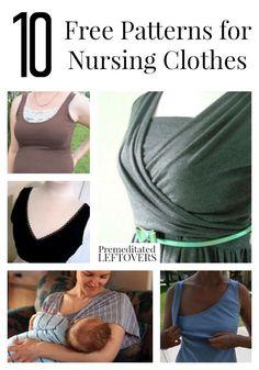 10 Free Patterns for Nursing Clothes, including how to make nursing pads, free wrap nursing dress pattern, and free nursing top patterns.