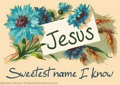 There have been names that I have loved to hear, But never has there been a name so dear To this heart of mine, as the Name divine, The precious, precious Name of Jesus. Jesus is the sweetest name I know, And He's just the same as His lovely Name, And that's the reason why I love Him so; Oh, Jesus is the sweetest name I know. (Le­la B. Long) https://www.facebook.com/PostcardsFromGod/