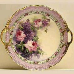 Lilac & Pink Roses Cake Plate Study, Paula Collins, this is so beautiful I would decorate an entire room around this, gorgeous Antique Dishes, Vintage Dishes, Antique China, Vintage China, Antique Plates, Decorative Plates, Painted Plates, Hand Painted, Painted Porcelain