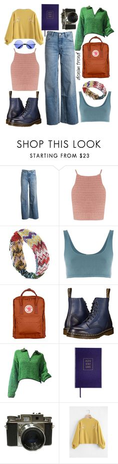 """""""Let's explore this town"""" by mariaandherflowers ❤ liked on Polyvore featuring Levi's, SHE MADE ME, Missoni Mare, Yeezy by Kanye West, Fjällräven, Dr. Martens, Jean-Paul Gaultier, Sloane Stationery, ZeroUV and denimtrend"""