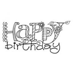 Woodware clear stamp: Happy birthday doodles
