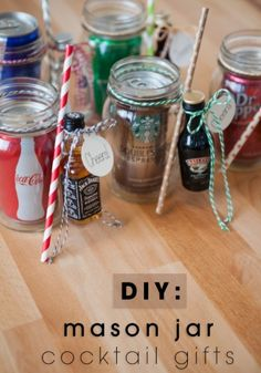 Looking for the perfect, inexpensive gift that will get a big reaction? Make one of these darling mason jar cocktail gifts for your favorite boozer - it's sure to please!Full tutorial here:http://somethingturquoise.com/2014/11/28/diy-mason-jar-cocktail-gifts/