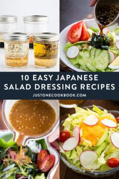From carrot ginger dressing to classic Japanese wafu dressing to sesame dressing, we've rounded up 10 easy Japanese salad dressing we know you'll love. French Salad Dressings, Ginger Salad Dressings, Salad Dressing Recipes, Japanese Salad Dressings, French Salad Recipes, Sesame Dressing Recipe, Japanese Eggplant Recipes, Easy Japanese Recipes, Gastronomia