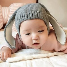 Knitted Baby Hat Adorable Rabbit Long Ear Hat Baby Bunny Beanie Cap Photo Props
