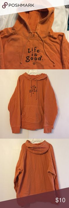 Life is good large sweatshirt❤️ Soft and warm orange hooded sweatshirt. Love this so much! 💕 Life is Good Shirts Sweatshirts & Hoodies