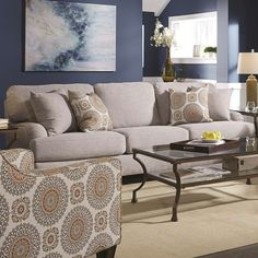 brianna gray twill loveseat contemporary home style pinterest rh pinterest com