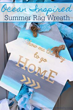 Ocean Inspired Summer Rag Wreath {Movie Monday: JAWS} via @cmongetcrafty